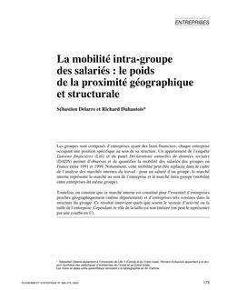La mobilité intra-groupe des salariés : le poids de la proximité géographique et structurale