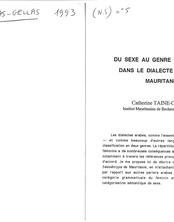 Du sexe au genre : le féminin dans le dialecte arabe de Mauritanie