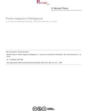 Perles magiques à Madagascar - article ; n°1 ; vol.29, pg 33-90