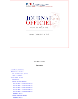Journal officiel n°0157 du 7 juillet 2012