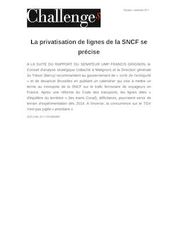 La privatisation de lignes de la SNCF se précise