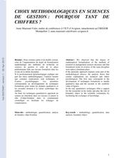 CHOIX METHODOLOGIQUES EN SCIENCES DE GESTION : POURQUOI TANT DE CHIFFRES ?