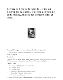 Camus, fiche de lecture sur l'Etranger