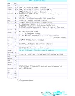 Agenda Saint Martin La Plaine 2011-2012