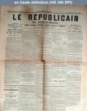LE REPUBLICAIN DE SEINE ET MARNE  numéro 1417 du 07 juin 1885