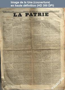LA PATRIE  numéro 252 du 18 octobre 1852
