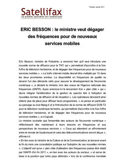 article du 11 janvier 2011 - ERIC BESSON : le ministre veut dégager des fréquences pour de nouveaux services mobiles