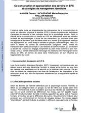 Co-construction et appropriation des savoirs en EPS et stratégies de management identitaire
