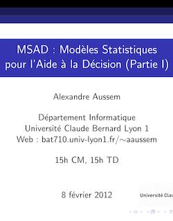 MSAD : Modèles Statistiques pour l'Aide à la Décision (Partie I