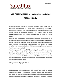 article du 01 avril 2011 - GROUPE CANAL+ : extension du label Canal Ready