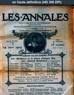 LES ANNALES POLITIQUES ET LITTERAIRES  du 24 janvier 1909