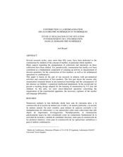 CONTRIBUTION À LA RÉORGANISATION DES SAVOIRS PRÉ-NUMÉRIQUES ET NUMÉRIQUES