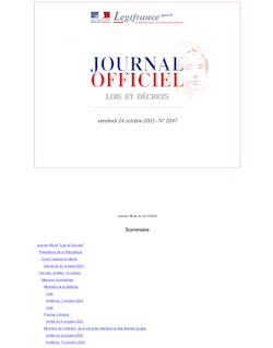 Journal officiel n°247 du 24 octobre 2003