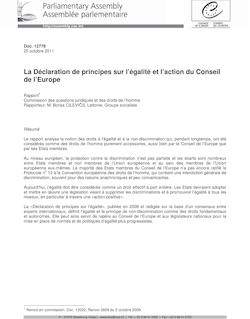 La Déclaration de principes sur l'égalité et l'action du Conseil de l ...