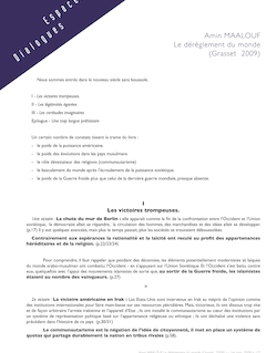 Amin MAALOUF Le dérèglement du monde (Grasset 2009) *