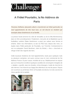 A l'hôtel Pourtalès, la No Address de Paris