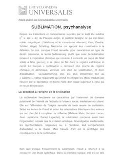 Définition et synonyme de : SUBLIMATION, psychanalyse