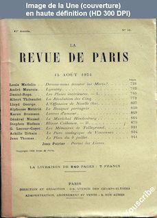 LA REVUE DE PARIS  numéro 16 du 15 août 1934