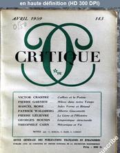 CRITIQUE numéro 143 du 01 avril 1959