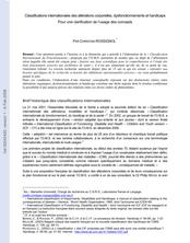 Classifications internationales des altérations corporelles, dysfonctionnements et handicaps. Pour une clarification des concepts