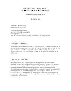 ISC 3700 THÉORIES DE LA COMMUNICATION MÉDIATISÉE