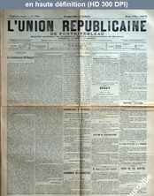 L' UNION REPUBLICAINE DE FONTAINEBLEAU  numéro 1930 du 03 mars 1896
