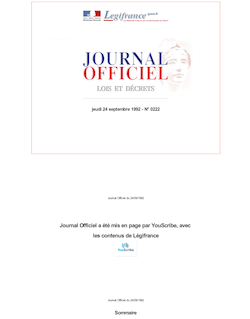 Journal officiel n°222 du 24 septembre 1992