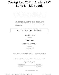 Corrigé du bac S - Anglais LV1 2011 - Métropole