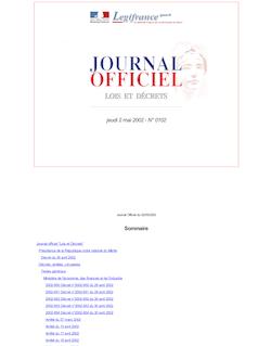 Journal officiel n°102 du 2 mai 2002