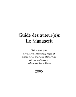 Guide des auteurs Le Manuscrit