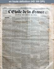 L' ETOILE DE LA FRANCE  du 16 septembre 1848