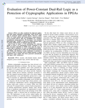 Evaluation of Power-Constant Dual-Rail Logic as a Protection of Cryptographic Applications in FPGAs
