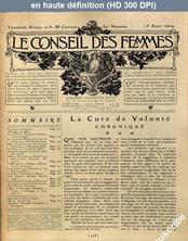 LE CONSEIL DES FEMMES  numéro 8 du 15 août 1904