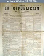 LE REPUBLICAIN DE SEINE ET MARNE  numéro 653 du 23 mai 1880