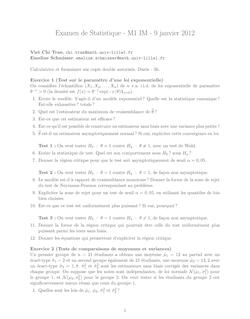 Examen de Statistique M1 IM janvier