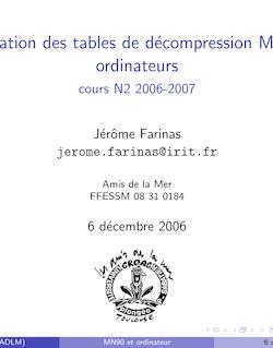 L'utilisationdes tables de d´ecompression MN90 et ordinateurs