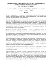 POUR UNE GESTION INTENTIONNELLE DE L'ARBRE PAR LES AGROPASTEURS DU NORD CAMEROUN : DU CHAMP AU PAYSAGE