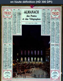 calendrier des postes du 01 janvier 1932