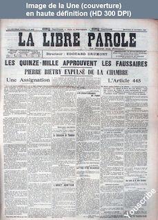 LA LIBRE PAROLE  numéro 6027 du 21 octobre 1908