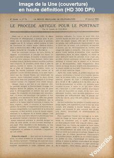 REVUE FRANCAISE DE PHOTOGRAPHIE ET DE CINEMATOGRAPHIE numéro 74 du 15 janvier 1923