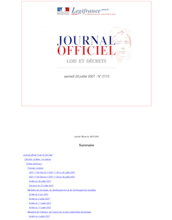 Journal officiel n°173 du 28 juillet 2007