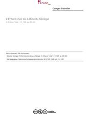 L'Enfant chez les Lébou du Sénégal - article ; n°4 ; vol.1, pg 285-303