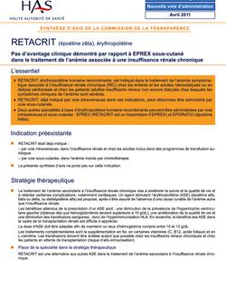 RETACRIT - Synthèse d'avis RETACRIT CT-9673