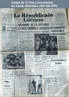 LE REPUBLICAIN LORRAIN  numéro 310 du 31 décembre 1958