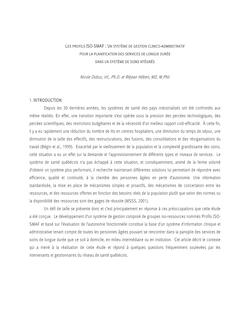 LES PROFILS ISO-SMAF : UN SYSTÈME DE GESTION CLINICO - ADMINISTRATIF