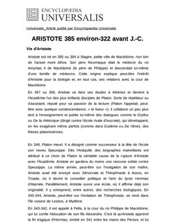 ARISTOTE 385 environ-322 avant J.-C.