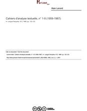 Cahiers d'analyse textuelle, n° 1-9 (1959-1967)  ; n°1 ; vol.3, pg 122-123