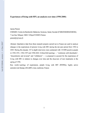 Experiences of living with HIV, an analysis over time (1990-2000)