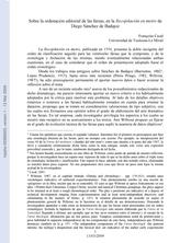 Sobre la ordenación editorial de las farsas, en la Recopilación en metro de Diego Sánchez de Badajoz