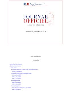 Journal officiel n°174 du 29 juillet 2007